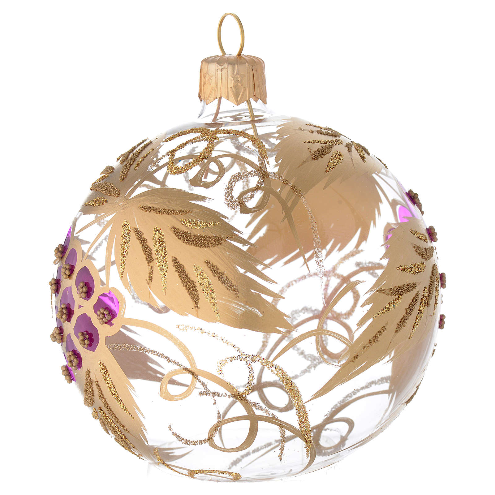 Bauble in blown glass with grape decoration in relief 80mm 4
