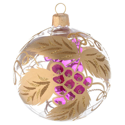 Bauble in blown glass with grape decoration in relief 80mm 1
