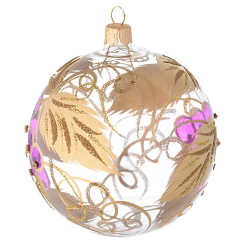 Bauble in blown glass with grape decoration in relief 100mm 2