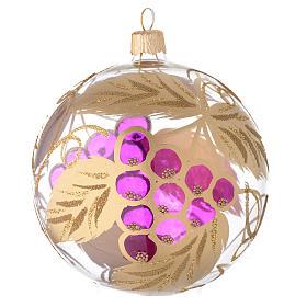 Bola para árbol de Navidad de vidrio soplado transparente y decoración con uva 100 mm s1