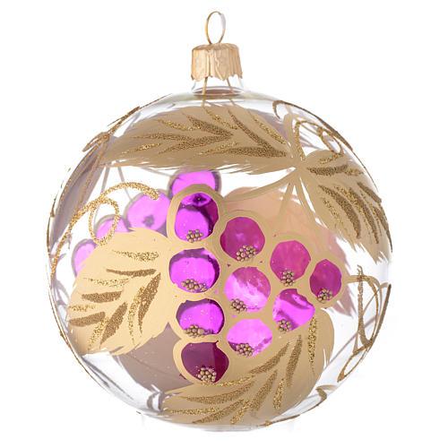 Bola para árbol de Navidad de vidrio soplado transparente y decoración con uva 100 mm 1