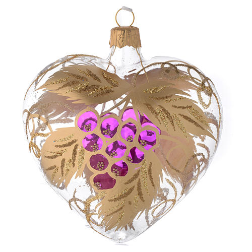 Heart Shaped Bauble in blown glass with grape decoration in relief 100mm 1