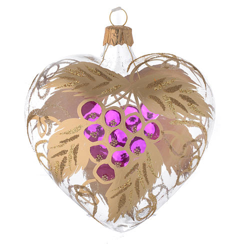 Heart Shaped Bauble in blown glass with grape decoration in relief 100mm 2