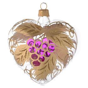 Bola de Navidad corazón de vidrio transparente y decoración con uva 100 mm s1