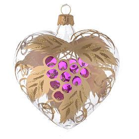Bombka bożonarodzeniowa w kształcie serca szkło dekoracje winogrona 100mm s2