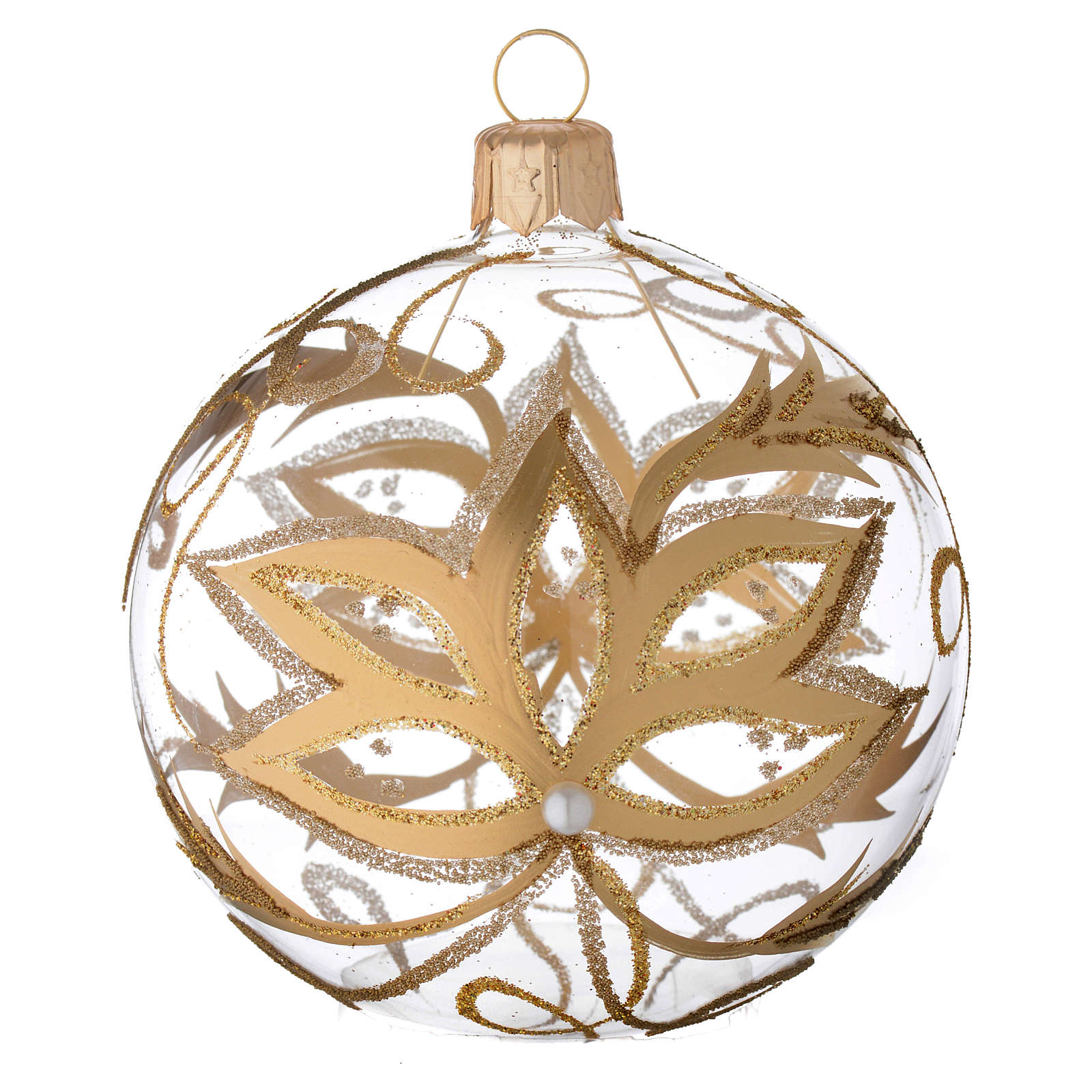 Bauble in blown glass with gold flower 80mm 4