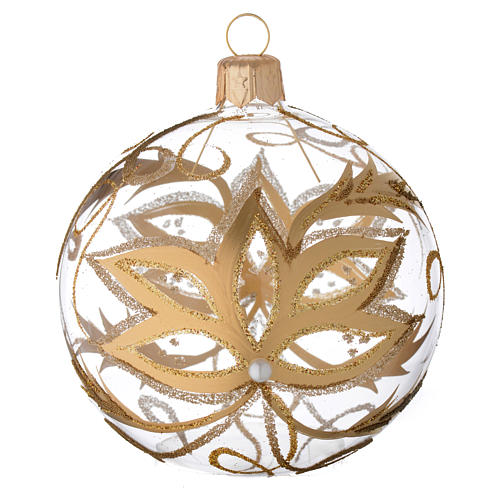 Bauble in blown glass with gold flower 80mm 1