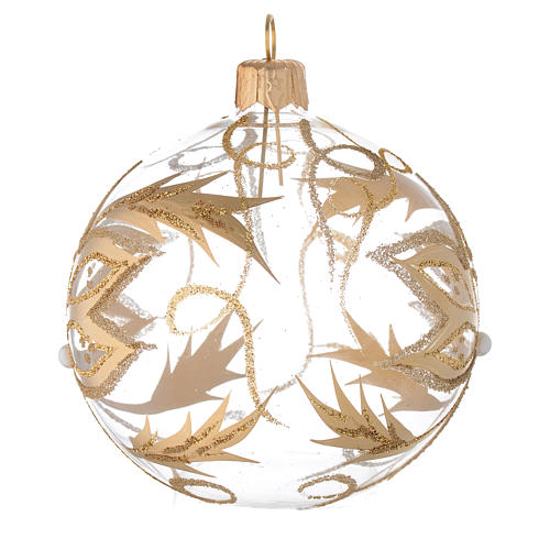 Bauble in blown glass with gold flower 80mm 2