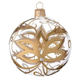 Boules de Noël: Ornement boule verre fleurs or 80 mm