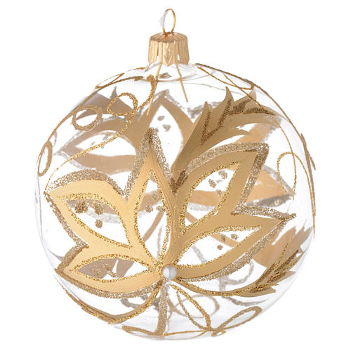 Bauble in blown glass with gold flower 100mm 1