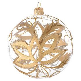Bola para árbol de Navidad de vidrio soplado con flores doradas 100 mm s1