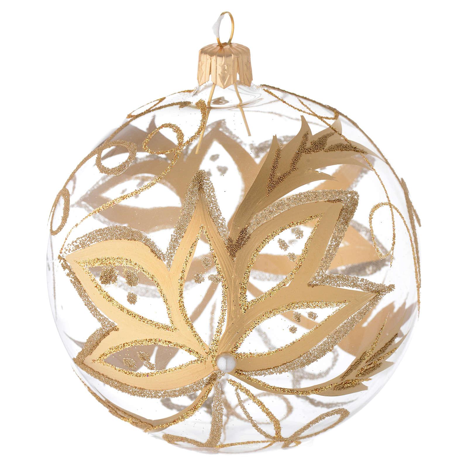 Decoro Natale palla vetro soffiato fiori oro 100 mm 4
