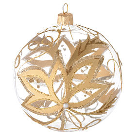 Bauble in blown glass with gold flower 100mm s1