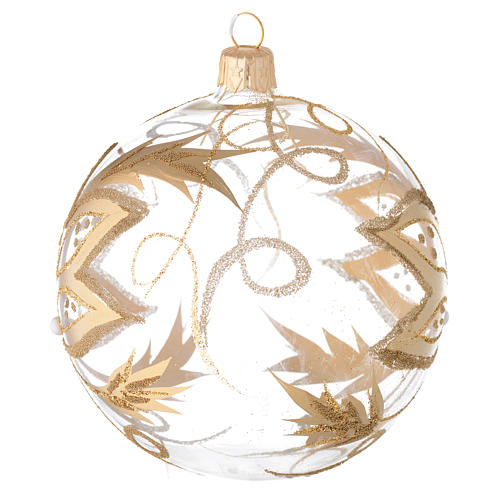Bauble in blown glass with gold flower 100mm 2