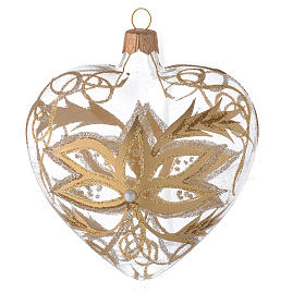 Heart Shaped Bauble in blown glass with gold flower 100mm s1