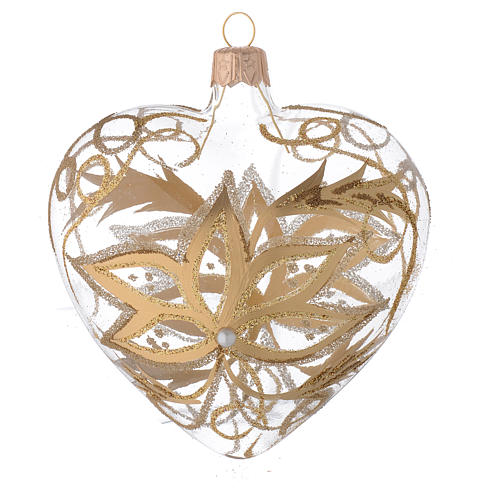 Heart Shaped Bauble in blown glass with gold flower 100mm 2