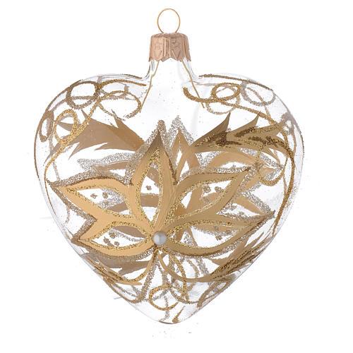 Bola de Navidad corazón de vidrio soplado con flores doradas 100 mm 2