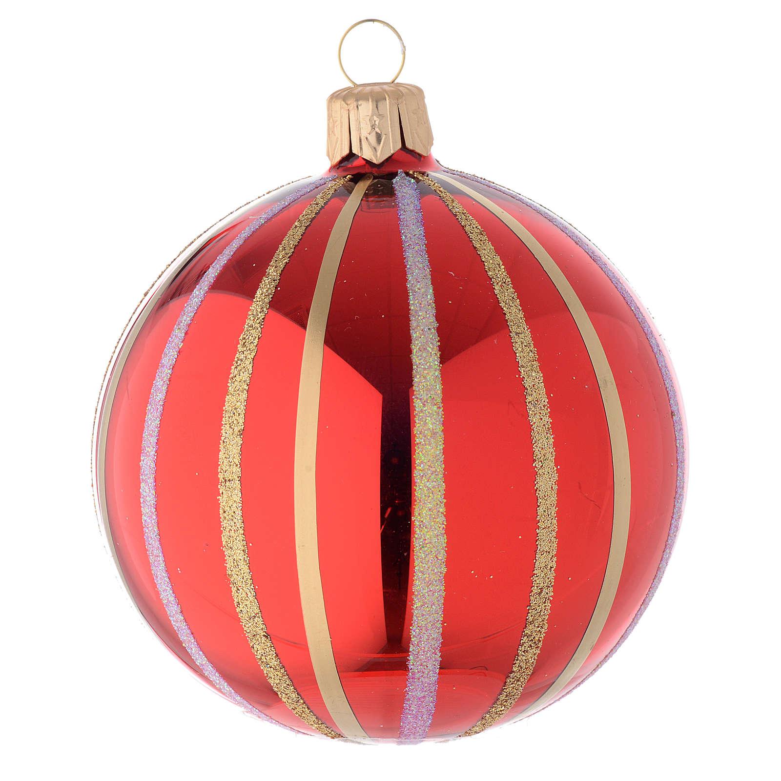 Bola de Navidad de vidrio rojo y oro 80 mm 4