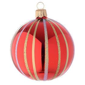 Bola de Navidad de vidrio rojo y oro 80 mm s2