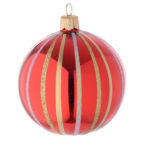 Bola de Navidad de vidrio rojo y oro 80 mm 1