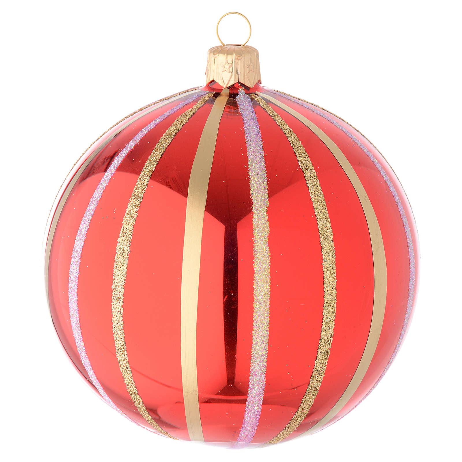 Bola para árbol de Navidad de vidrio soplado rojo y oro 100 mm 4