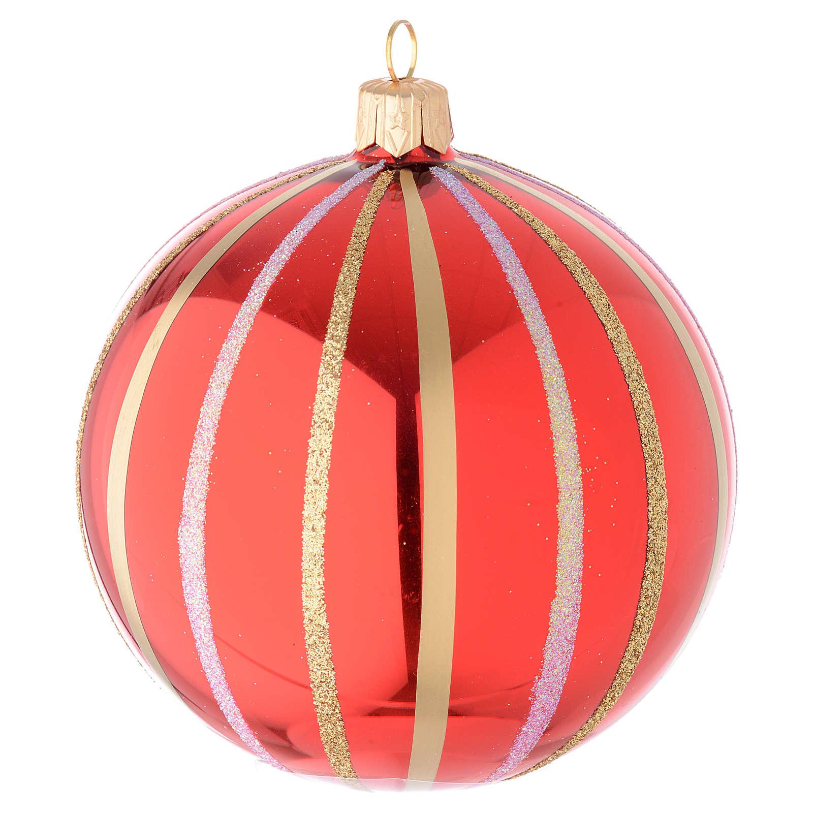 Addobbo palla vetro soffiato rosso/oro 100 mm 4
