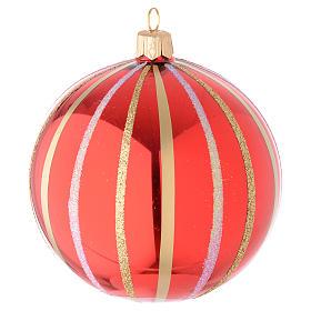 Addobbo palla vetro soffiato rosso/oro 100 mm s2
