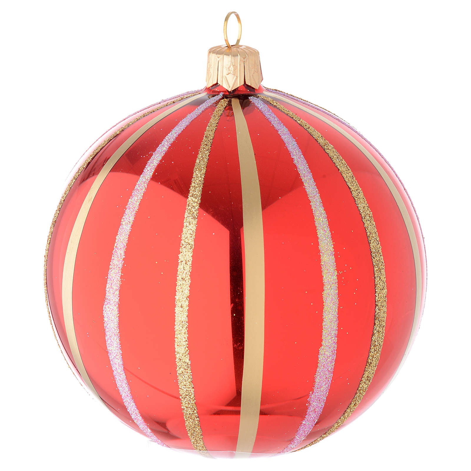 Bauble in red and gold blown glass 100mm 4