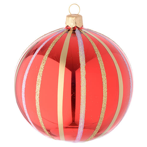 Bauble in red and gold blown glass 100mm 1