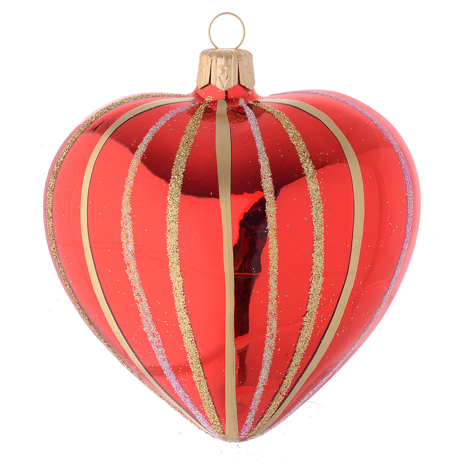 Heart Shaped Bauble in red and gold blown glass 100mm 4