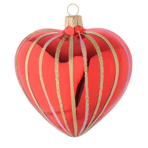 Heart Shaped Bauble in red and gold blown glass 100mm 1