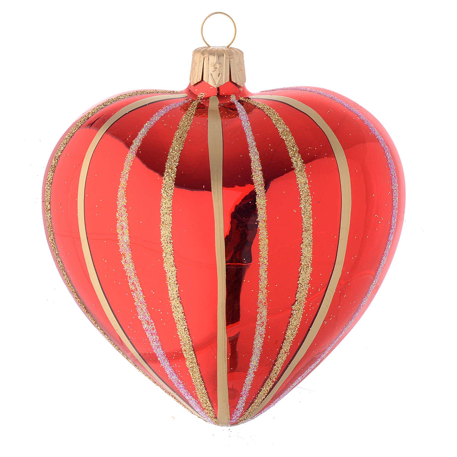 Bola de Navidad corazón de vidrio soplado rojo y oro 100 mm 4
