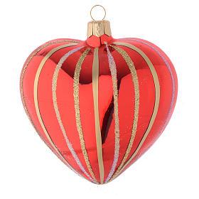 Bola de Navidad corazón de vidrio soplado rojo y oro 100 mm s1