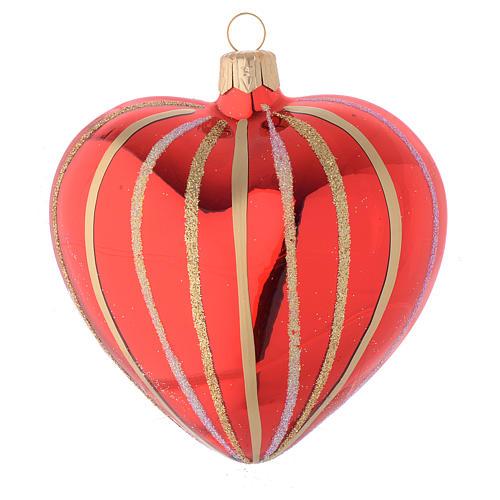 Bola de Navidad corazón de vidrio soplado rojo y oro 100 mm 1