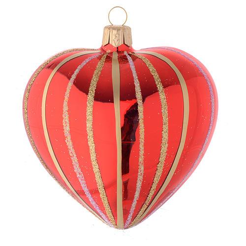 Bola de Navidad corazón de vidrio soplado rojo y oro 100 mm 2