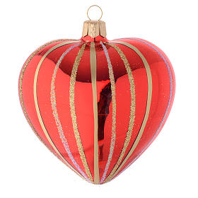 Addobbo Natale cuore vetro rosso/oro 100 mm s2