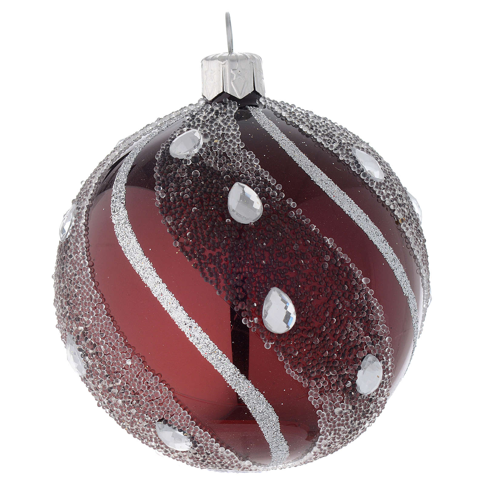 Pallina Natale in vetro bordeaux/argento 80 mm 4
