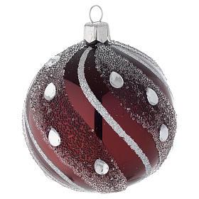 Pallina Natale in vetro bordeaux/argento 80 mm s2