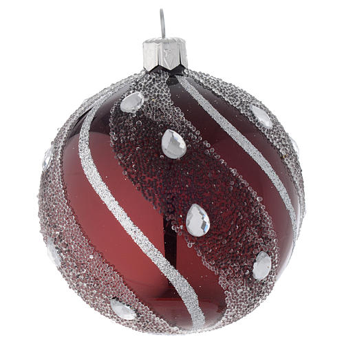 Pallina Natale in vetro bordeaux/argento 80 mm 1
