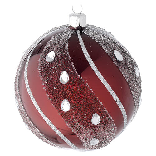 Bauble in burgundy blown glass with silver decoration 100mm 1
