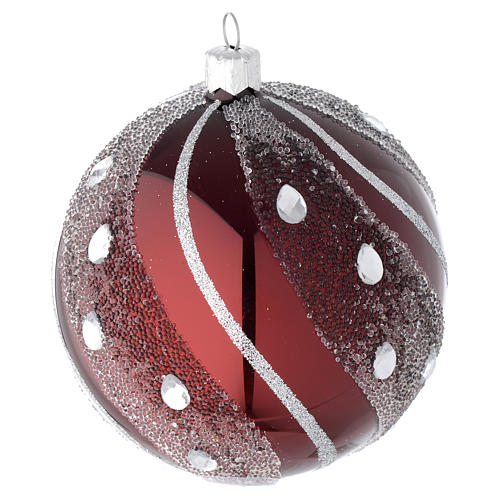 Bauble in burgundy blown glass with silver decoration 100mm 2