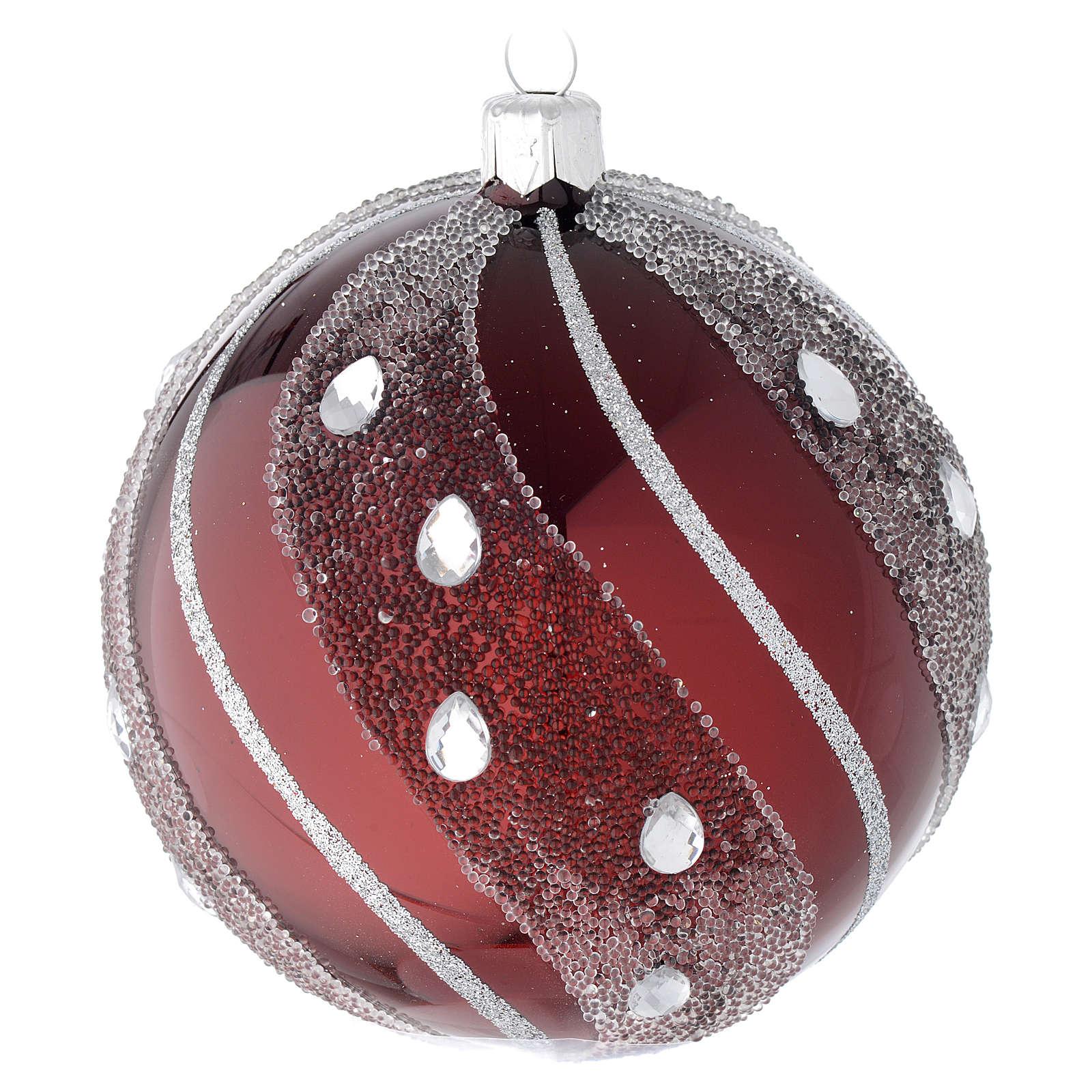 Bombka bożonarodzeniowa szkło bordowe/ srebrne 100mm 4