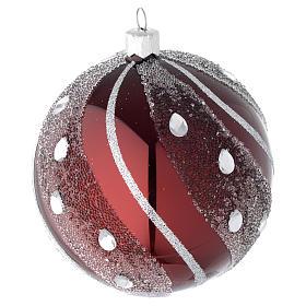 Bombka bożonarodzeniowa szkło bordowe/ srebrne 100mm s2