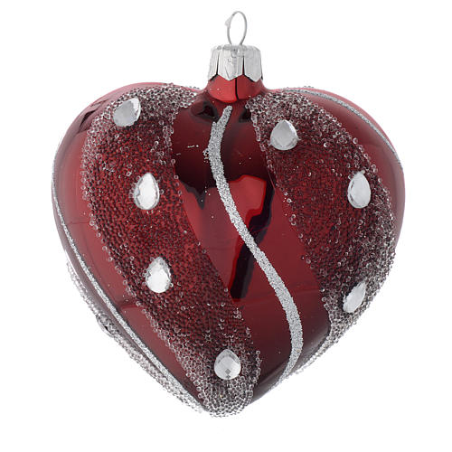 Heart Shaped Bauble in burgundy blown glass with silver decoration 100mm 1
