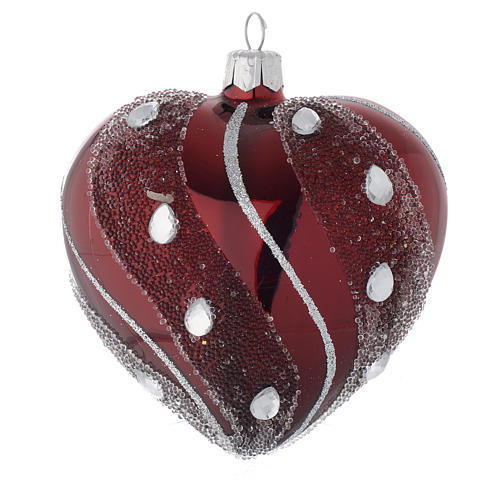 Heart Shaped Bauble in burgundy blown glass with silver decoration 100mm 2