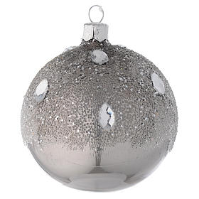 Bola de Navidad de vidrio plata efecto hielo 80 mm s1