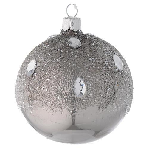 Bola de Navidad de vidrio plata efecto hielo 80 mm 1