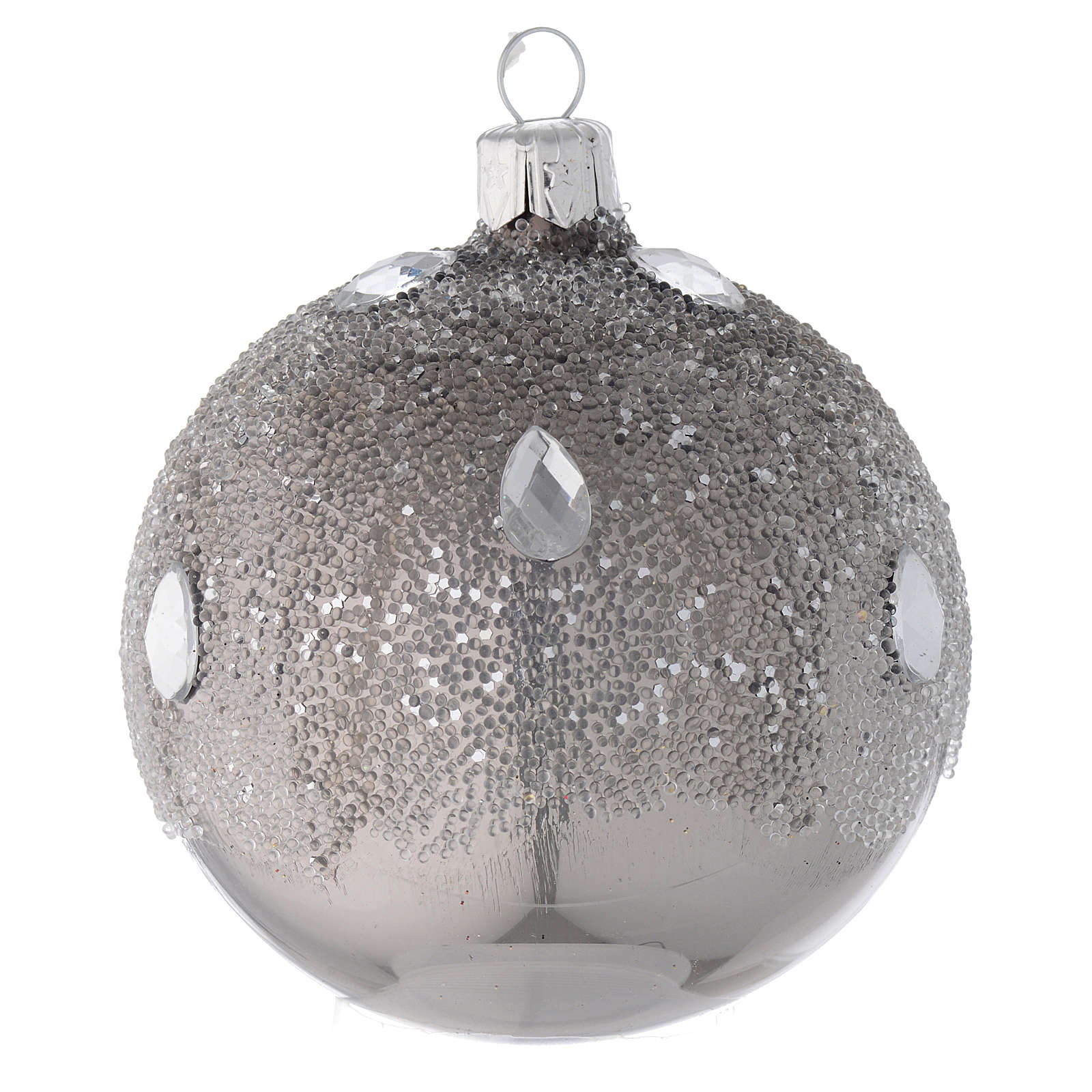 Bauble in silver blown glass with ice effect decoration 80mm 4