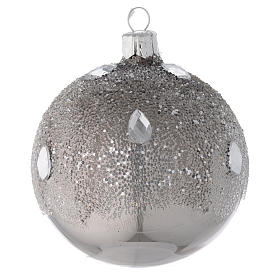 Bauble in silver blown glass with ice effect decoration 80mm s2