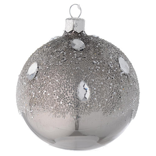 Bauble in silver blown glass with ice effect decoration 80mm 1